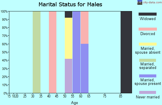Zip code 43109 marital status for males