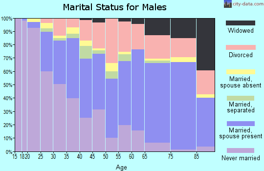 Zip code 43207 marital status for males