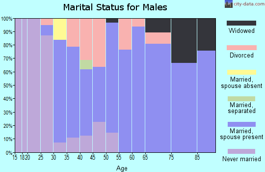 Zip code 43412 marital status for males