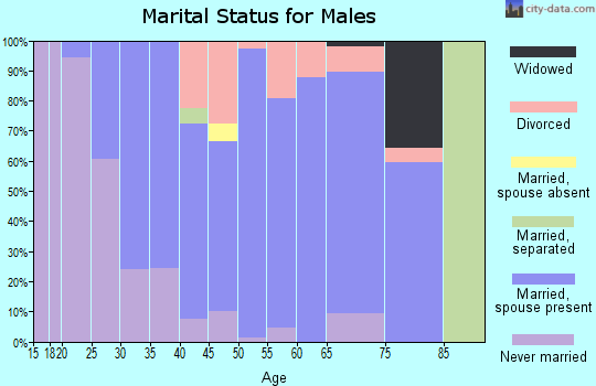 Zip code 43716 marital status for males