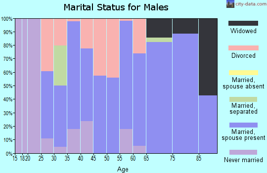 Zip code 43986 marital status for males