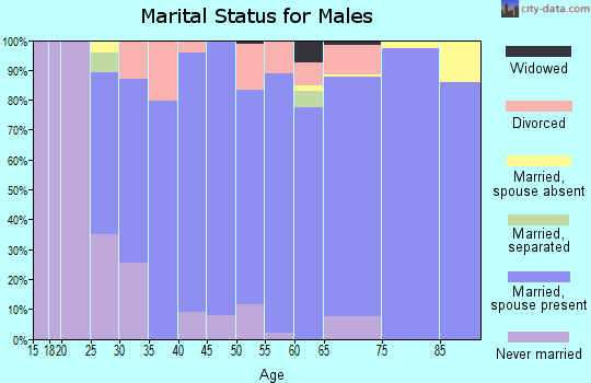 Zip code 44023 marital status for males