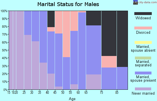 Zip code 44085 marital status for males