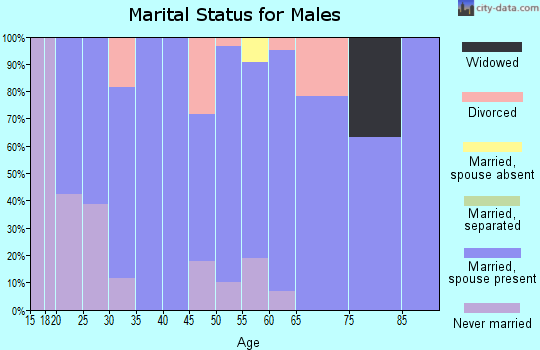 Zip code 44086 marital status for males