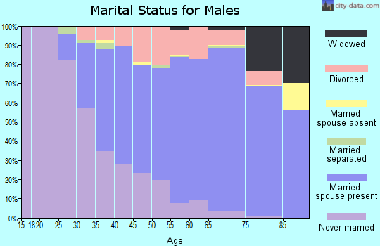 Zip code 44095 marital status for males