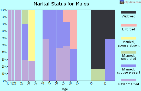 Zip code 44250 marital status for males