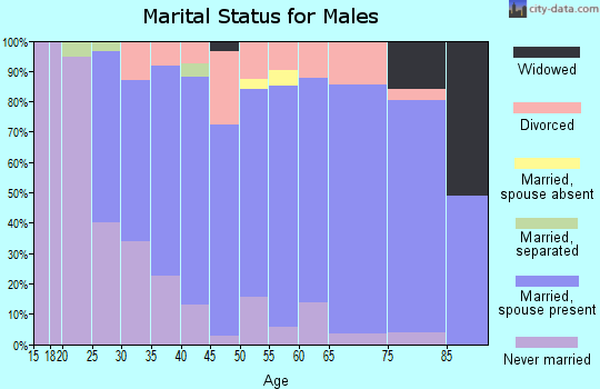 Zip code 44273 marital status for males