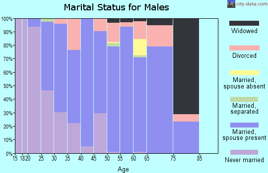 Zip code 44445 marital status for males