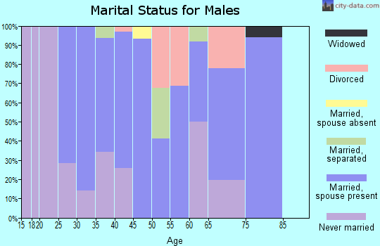 Zip code 44628 marital status for males