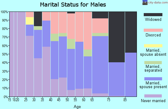 Zip code 44707 marital status for males