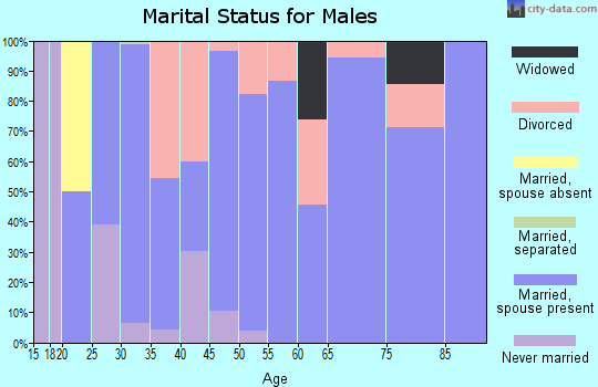 Zip code 45118 marital status for males