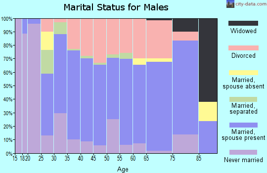 Zip code 45660 marital status for males
