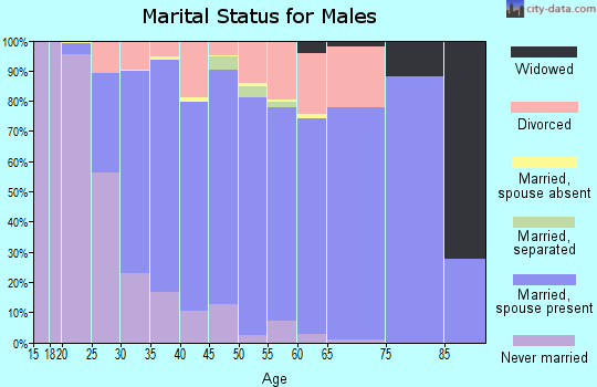 Zip code 46234 marital status for males
