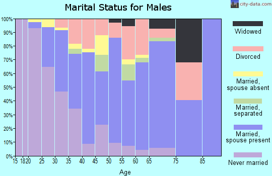 Zip code 46235 marital status for males