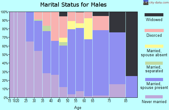Zip code 46319 marital status for males