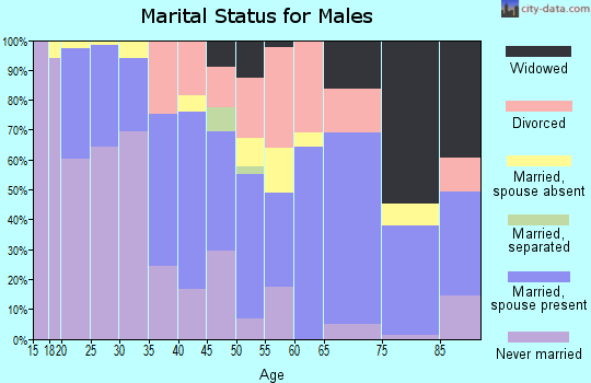 Zip code 46327 marital status for males