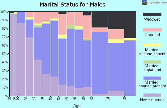 Zip code 46368 marital status for males