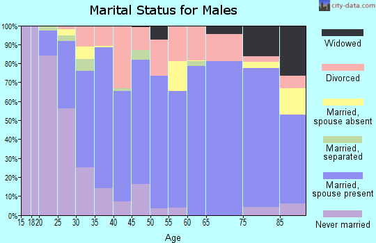Zip code 46714 marital status for males