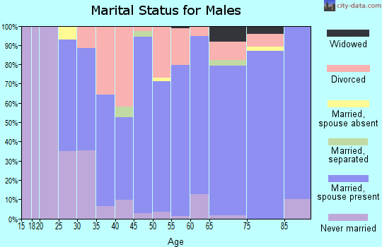 Zip code 46787 marital status for males
