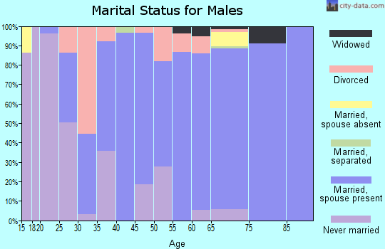 Zip code 47136 marital status for males