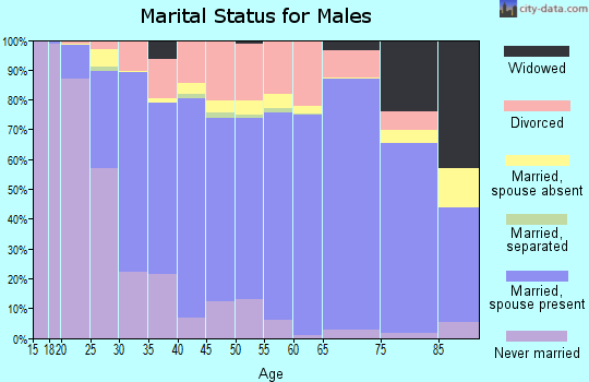 Zip code 47201 marital status for males