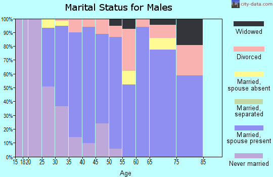Zip code 47429 marital status for males