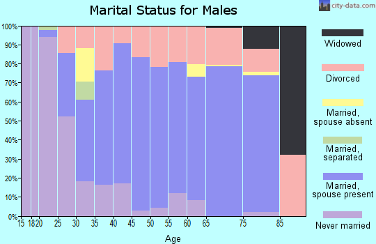 Zip code 47446 marital status for males