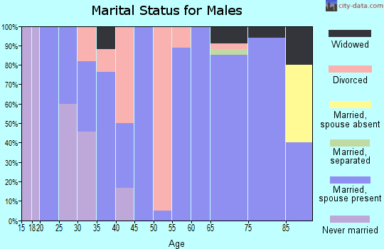 Zip code 47578 marital status for males
