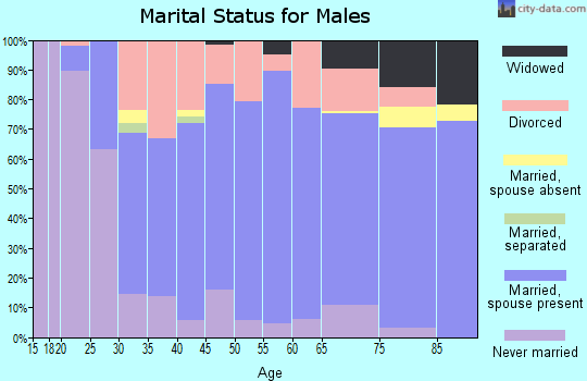 Zip code 47586 marital status for males