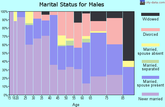 Zip code 47713 marital status for males