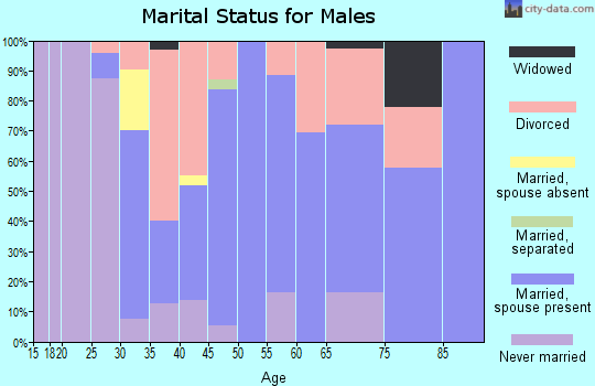 Zip code 47957 marital status for males
