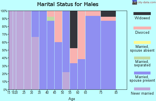 Zip code 50005 marital status for males