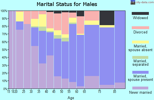 Zip code 52205 marital status for males