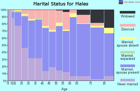 Zip code 52501 marital status for males