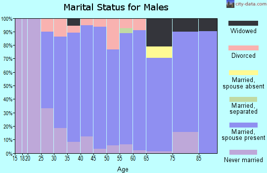 Zip code 52726 marital status for males