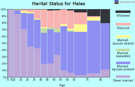 Zip code 52803 marital status for males