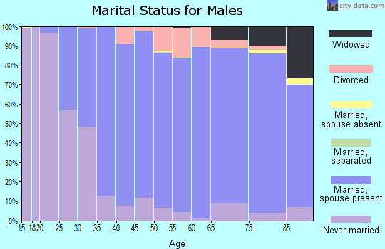 Zip code 53150 marital status for males