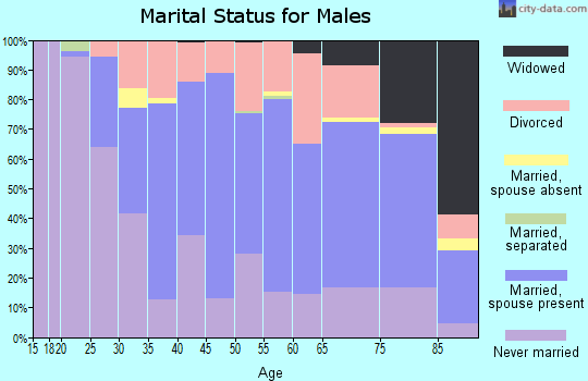 Zip code 53172 marital status for males