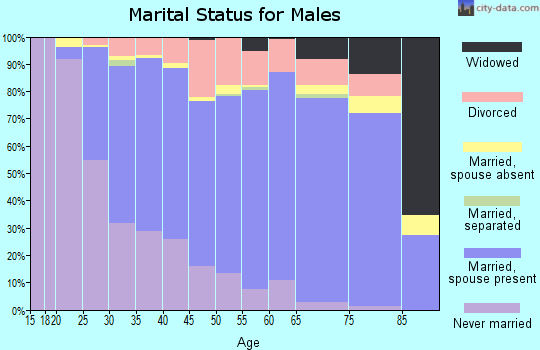 Zip code 53188 marital status for males