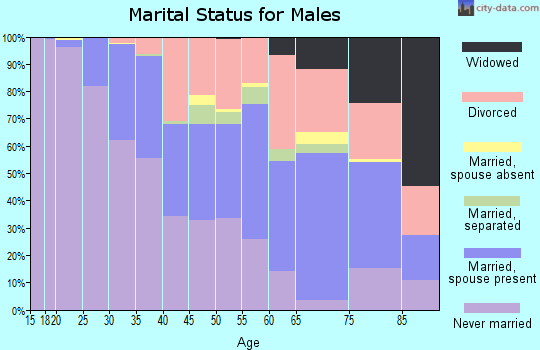 Zip code 53210 marital status for males