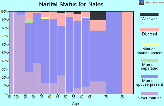 Zip code 53919 marital status for males