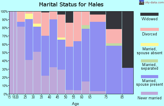 Zip code 54814 marital status for males