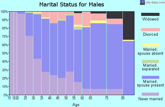 Zip code 55105 marital status for males
