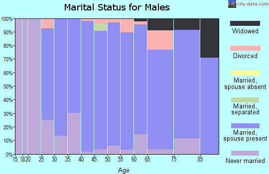 Zip code 55424 marital status for males
