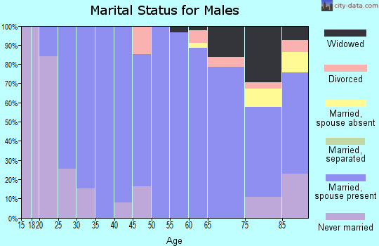 Zip code 57369 marital status for males