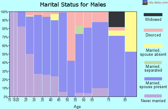Zip code 58220 marital status for males