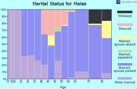Zip code 58425 marital status for males