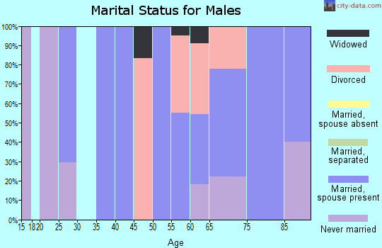 Zip code 58441 marital status for males