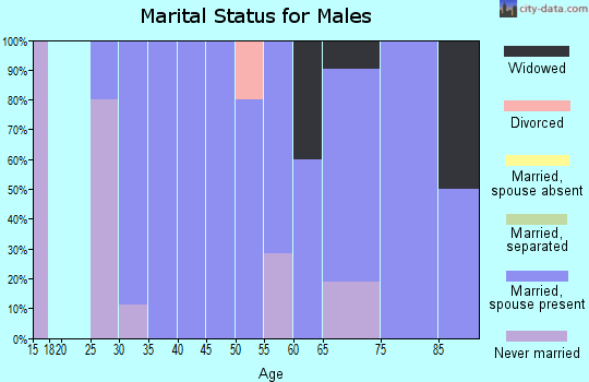 Zip code 58444 marital status for males