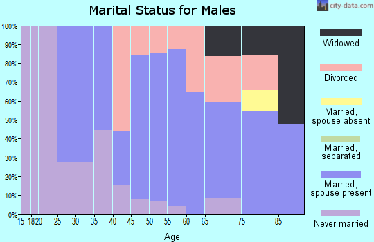 Zip code 58631 marital status for males